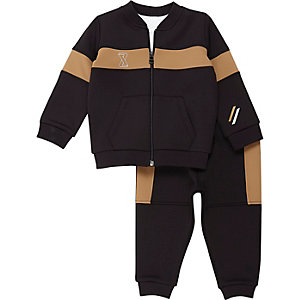 Mini boys navy block stripe jogger set