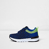 Mini boys navy blue mesh runner sneakers