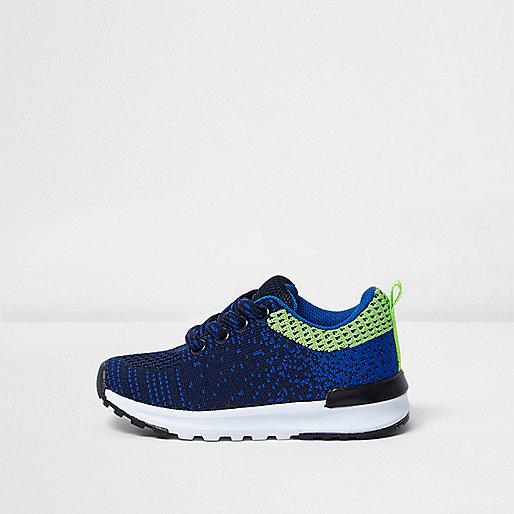 Mini boys navy blue mesh runner trainers