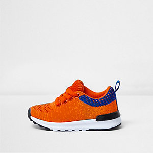 Mini boys orange mesh runner trainers