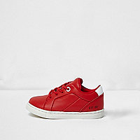 Mini boys red faux leather sneakers