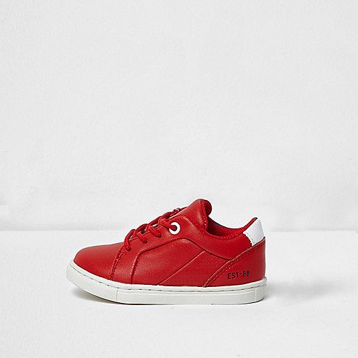 Mini boys red faux leather trainers