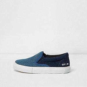 Mini boys dark blue denim slip on plimsolls