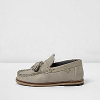 Mini boys grey suede tassel loafers
