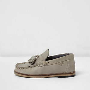 Mini boys grey leather tassel loafers