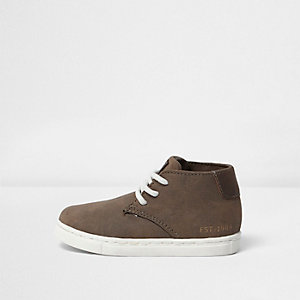 Mini boys khaki lace up boots