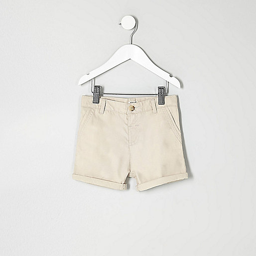 Mini boys cream chino shorts