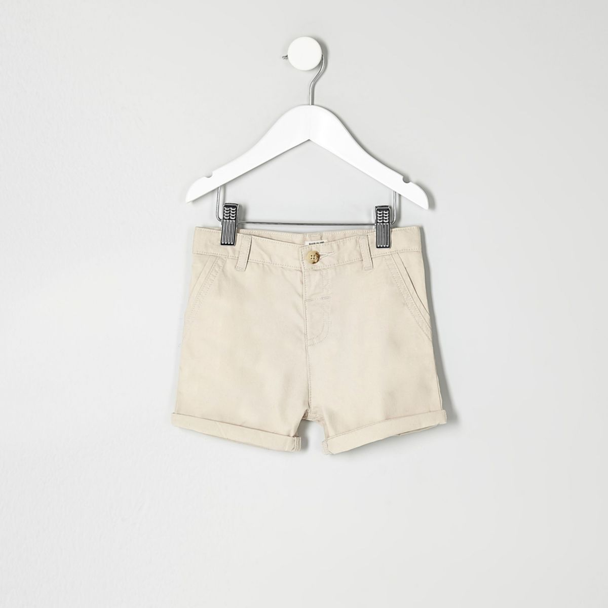 Mini boys cream chino shorts