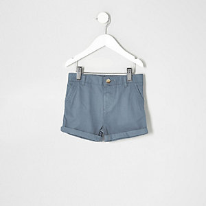 Mini boys light blue chino shorts