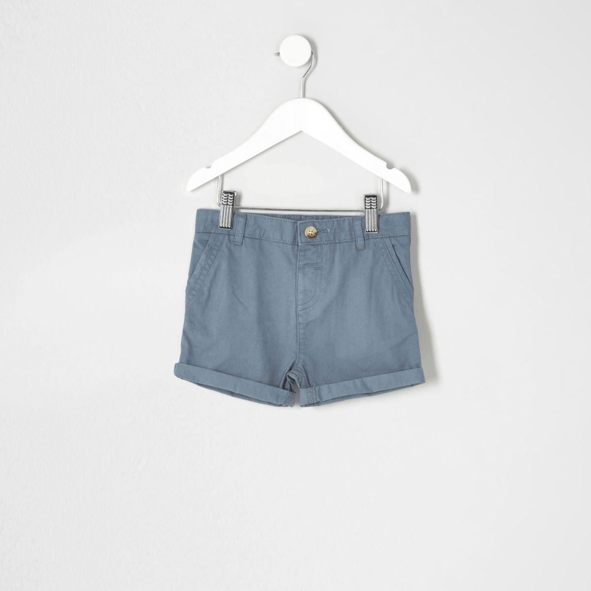 Mini boys light blue chino shorts