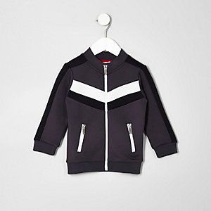 Mini boys grey color block track jacket