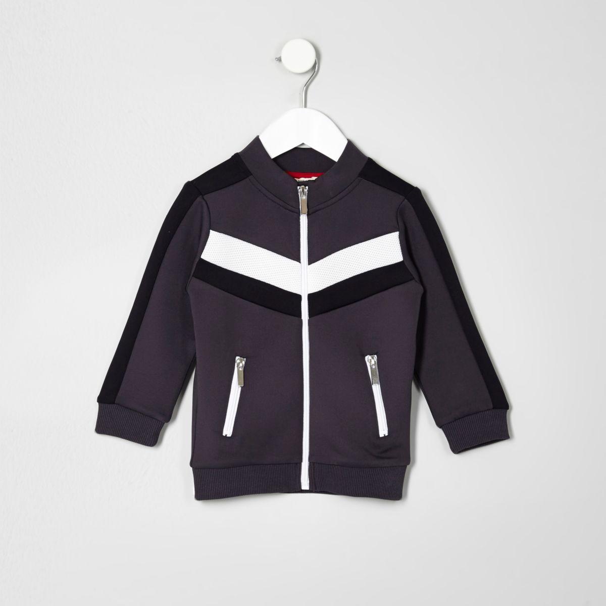Mini boys grey colour block track jacket