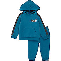 Mini boys blue block hoodie and joggers