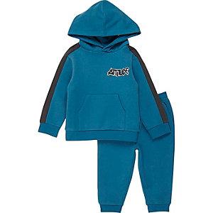 Pantalon de jogging et sweat à capuche colour block bleu pour mini garçon