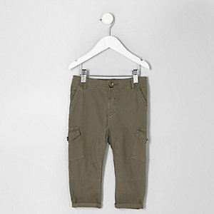 Mini boys khaki green cargo pants