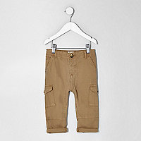 Mini boys light brown cargo trousers