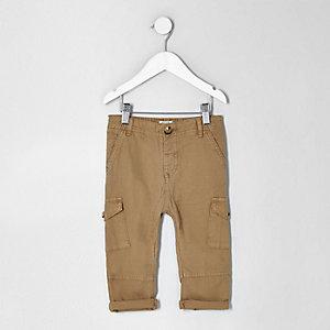 Mini boys light brown cargo trousers