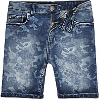 Boys blue camo slim fit denim Dylan shorts