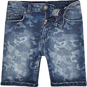 Boys blue camo slim fit denim Dylan shorts