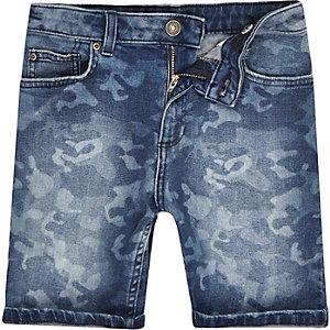 Short en jean Dylan slim bleu motif camouflage pour garçon