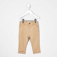 Pantalon chino marron camel mini garçon
