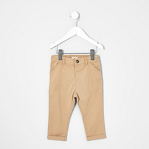 Mini boys camel brown chino trousers