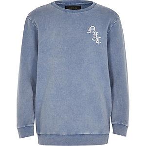 Sweat avec logo délavé bleu pour garçon