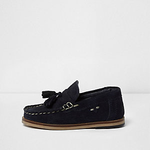 Mini boys dark navy suede tassel loafers