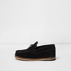Mini boys black suede snaffle loafers