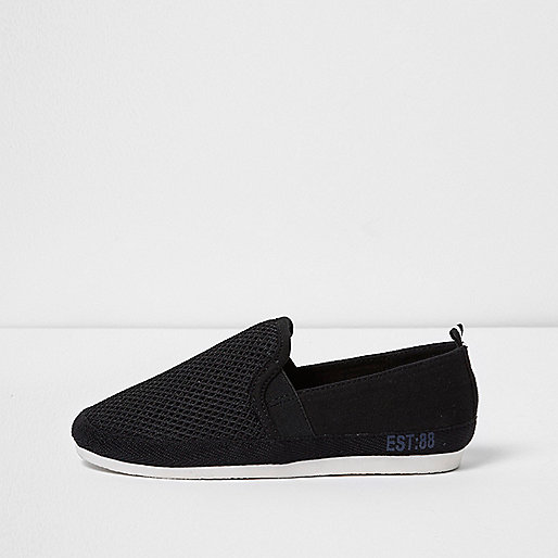 Boys black mesh slip on plimsolls