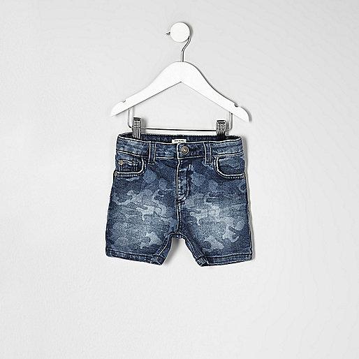Mini boys blue camo print denim shorts
