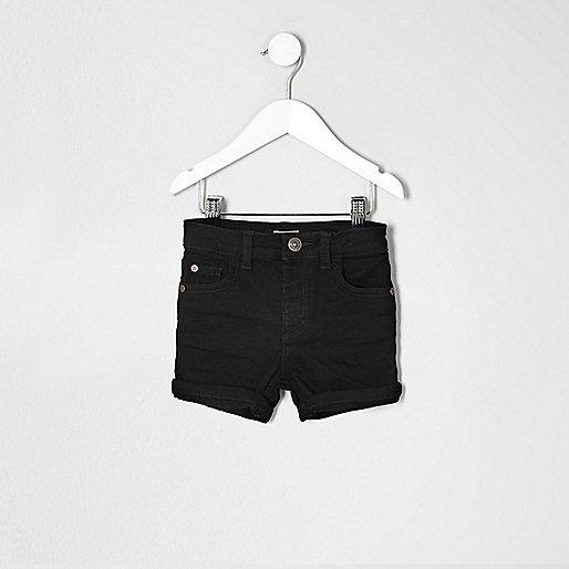 Mini boys black denim shorts