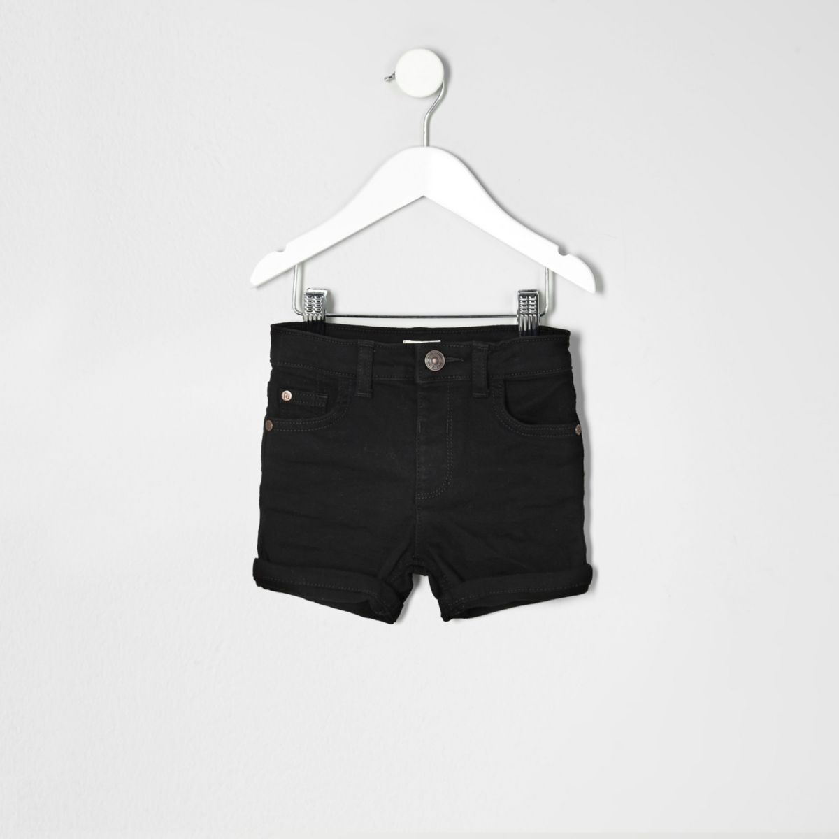 Mini boys black denim rolled hem shorts