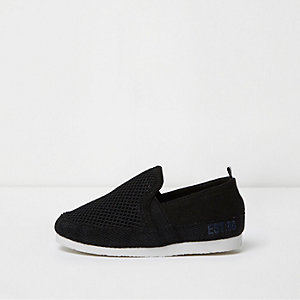Mini boys black mesh slip on plimsolls
