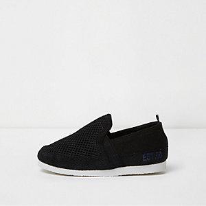 Mini - Zwarte slip-on gympen met mesh voor jongens