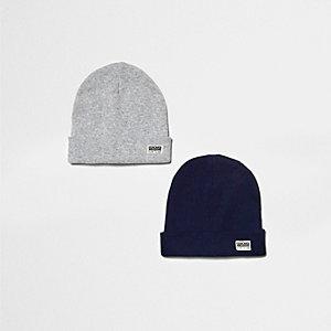 Lot de bonnets gris et bleu marine pour garçon