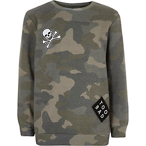 Boys khaki camo badge sweatshirt