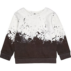 Mini boys white paint splatter sweatshirt