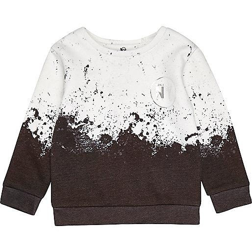 Mini boys white paint splatter sweatshirt
