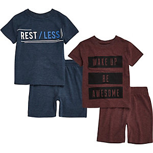 Mini boys blue and red shorts pyjamas pack