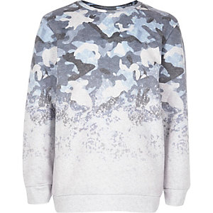 Boys blue faded camo sweatshirt