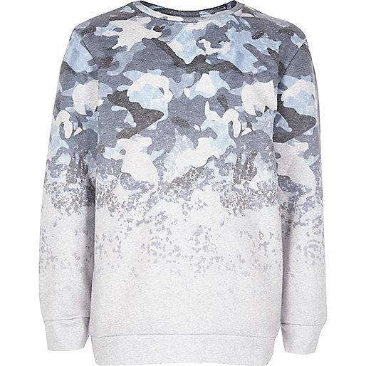 Boys blue faded camo sweatshirt