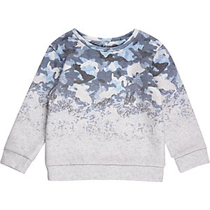 Mini boys blue faded camo sweatshirt