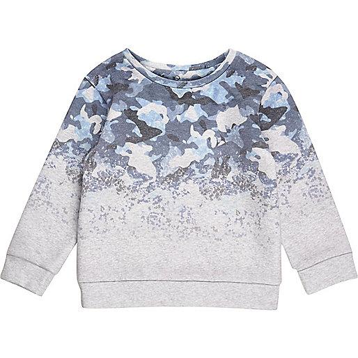 Mini boys blue faded camo sweatshirt