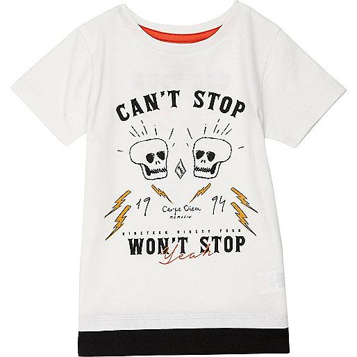Mini boys white skull print layered T-shirt