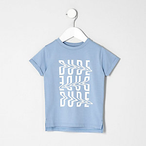 Mini boys light blue dude T-shirt