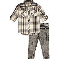 Mini boys cream check shirt and jeans