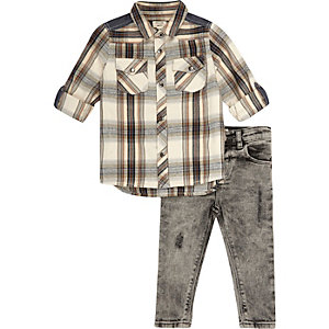 Mini boys cream check shirt and jeans