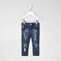Mini boys blue biker style distressed jeans