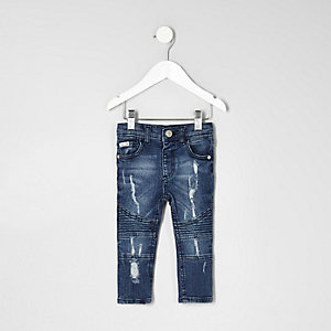 Mini boys blue biker style distressed jeans